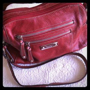 Tignanello Leather Crossbody Bag Red